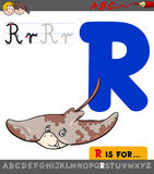 Letter r with cartoon ray animal character Royalty Free Stock Image