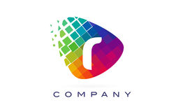 Letter R Colourful Rainbow Logo Design. Royalty Free Stock Photography