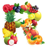 Letter R composed of different fruits with leaves Stock Images