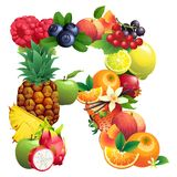 Letter R composed of different fruits with leaves Stock Photos