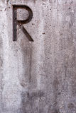 Letter R on Concrete Vertical Stock Images