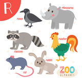 Letter R. Cute animals. Funny cartoon animals in vector. ABC boo Royalty Free Stock Images