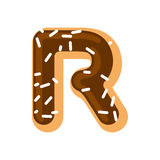 Letter R donut font. Doughnut alphabet. Sweet lettering. candy A Stock Image