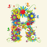 Letter R, floral design Royalty Free Stock Photo