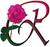 Letter R Floral FONT. LETTER R - Cute pink rose decorated colorful isolated font with additional PNG format with trandsparent background royalty free illustration