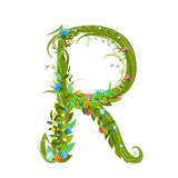 Letter R floral latin decorative character alphabet lettering sign Stock Photos