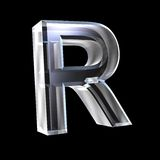 Letter R in glass 3D Stock Photos
