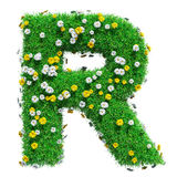 Letter R Of Green Grass And Flowers. Isolated On White Background. Font For Your Design. 3D Illustration royalty free illustration