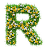 Letter R Of Green Grass And Flowers. Isolated On White Background. Font For Your Design. 3D Illustration stock illustration
