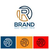 Letter R logo with circle vector icon, flat design. EPS file available. see more images related royalty free illustration