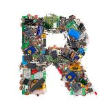 Letter R made of electronic components. Isolated on white background royalty free stock image