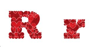 Letter R made from hearts. Letter R, uppercase and lowercase of alphabet made from hearts Royalty Free Stock Photography