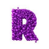 Letter R made of plastic beads, purple bubbles, isolated on white, 3d render Royalty Free Stock Image