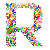 The letter R made up of lots of butterflies of different colors Stock Image