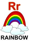 Letter R rainbow. Alphabet drawing for small school children R rainbow stock illustration