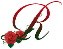 Letter R red floral  illustration. Red rose decorated Letter R font , colorful and Royalty Free Stock Photos