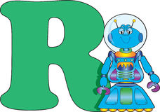 Letter R with a Robot Royalty Free Stock Photos