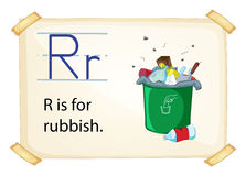 A letter R for rubbish. On a white background royalty free illustration