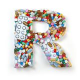 Letter R. Set of alphabet of medicine pills, capsules, tablets a Stock Image