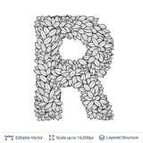 Letter R symbol of white leaves. Stock Photos