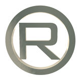 Letter R trademark symbol isolated on white Stock Photos