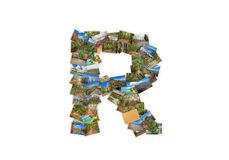 Letter R uppercase font shape alphabet collage Royalty Free Stock Photography