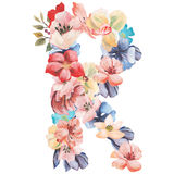 Letter R of watercolor flowers, isolated hand drawn on a white background, wedding design, english alphabet.  Stock Photos