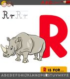 Letter R worksheet with rhinoceros animal stock photography