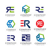 Letter RE, ER logo set concept Stock Images