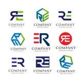 Letter RE, ER logo set concept. Letter RE, ER logo set Creative strong classy and modern  concept , Alphabetical Logo Design Concepts Stock Images