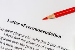 Letter of recommendation. And a red pencil Stock Photography