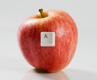 Letter A on a red apple Stock Image
