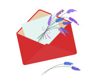 Letter in red envelope with bouquet of lavender. Romantic conception. Isolated on white background. Letter on Valentine`s Day. Flat icon. Vector illustration stock illustration