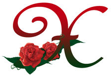 Letter X red floral  illustration. Red rose decorated Letter X font , colorful and Stock Image