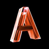 Letter A in red glass 3D Stock Images