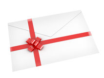 Letter with red ribbon isolated on Royalty Free Stock Image