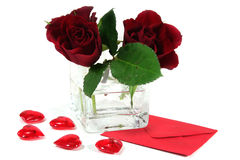 Letter with red roses and red hearts Stock Photography