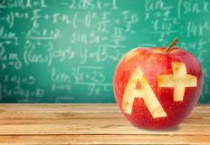 Letter A. Report Card Test Results Apple Education School Plus Sign Stock Photo
