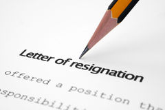 Letter of resignation Royalty Free Stock Photos
