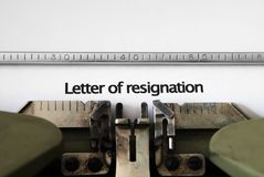 Letter of resignation Stock Image
