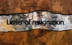 Letter of resignation text on wall stock photos
