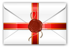 Letter with ribbon and wax seal. Stock Photo