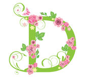 Letter with roses. For design vector illustration