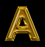 Letter A rounded shiny golden isolated on black. Background Stock Photography