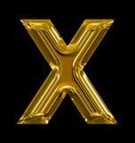 Letter X rounded shiny golden isolated on black. Background Stock Photos