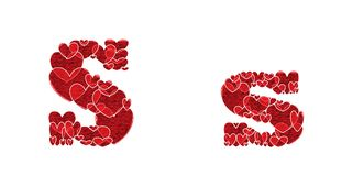 Letter S of alphabet made from hearts. Letter S, uppercase and lowercase of alphabet made from hearts Royalty Free Stock Image