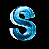 Letter S in blue glass 3D Royalty Free Stock Photo