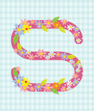 The letter S Bright floral element of colorful alphabet in  Stock Photography