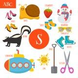 Letter S. Cartoon alphabet for children. Submarine, sun, scissor Stock Photo