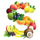 Letter S composed of different fruits with leaves Royalty Free Stock Photos